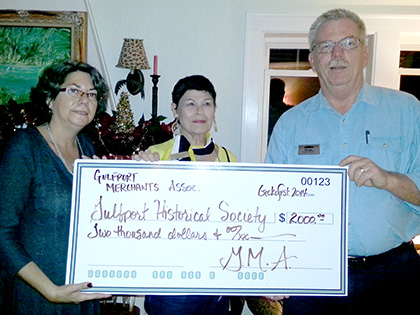 GMA donated $2,000.00 to the Gulfport Historical Society